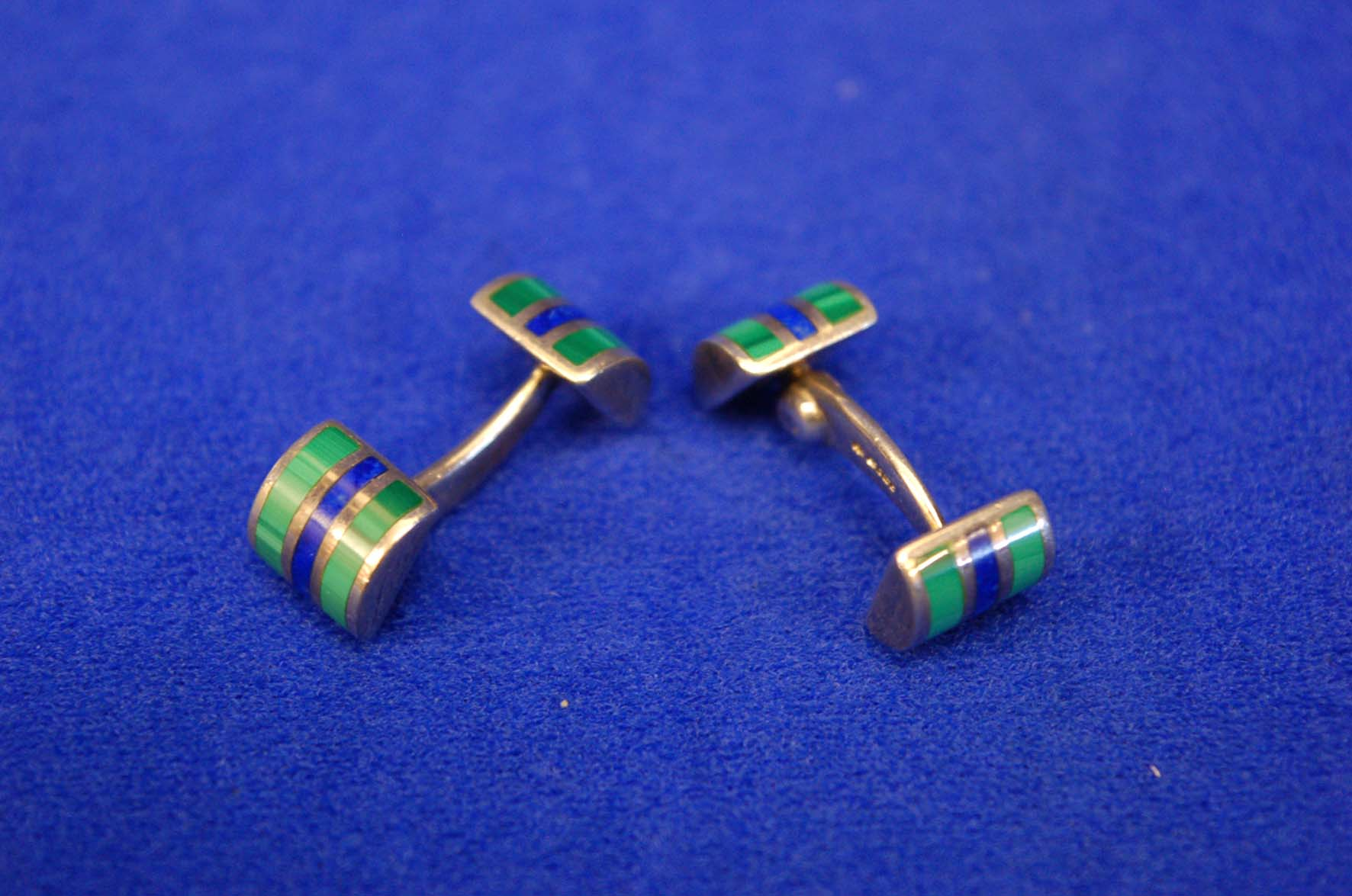 Lot 5 - A Pair of Sterling Silver, Green & Blue Enamel Bar Type Cufflinks