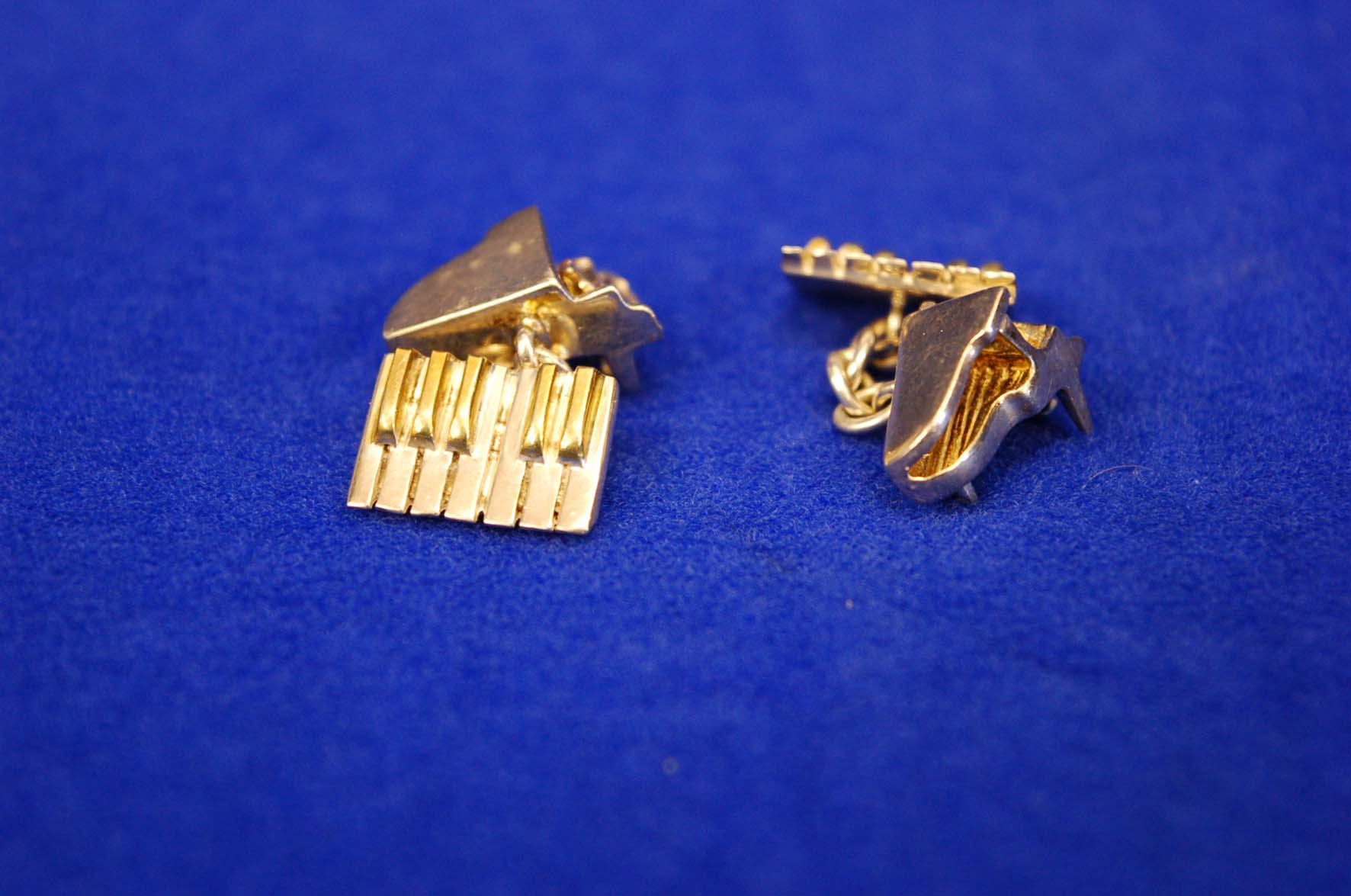 Lot 6 - A Pair of White Metal and Gilt Double Linked Cufflinks, Piano and Keyboard Design