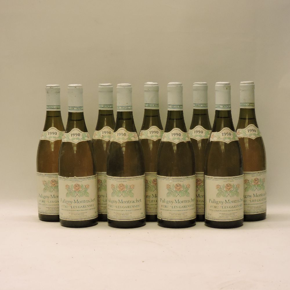 Lot 44 - Puligny-Montrachet 1ere Cru, Les Garennes, Bouton, 1990, nine bottles