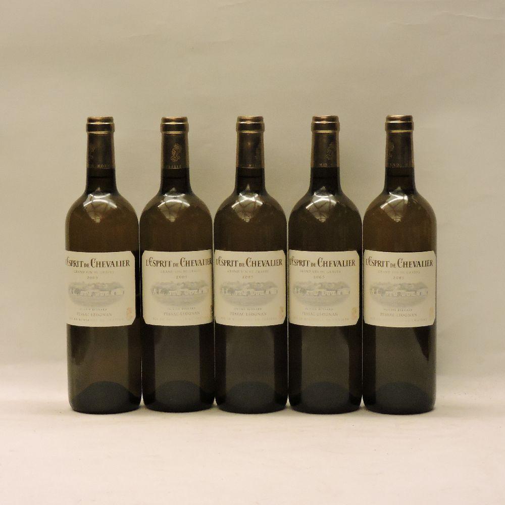 Lot 60 - L'Esprit de Chevalier, Pessac-Léognan, 2005, five bottles
