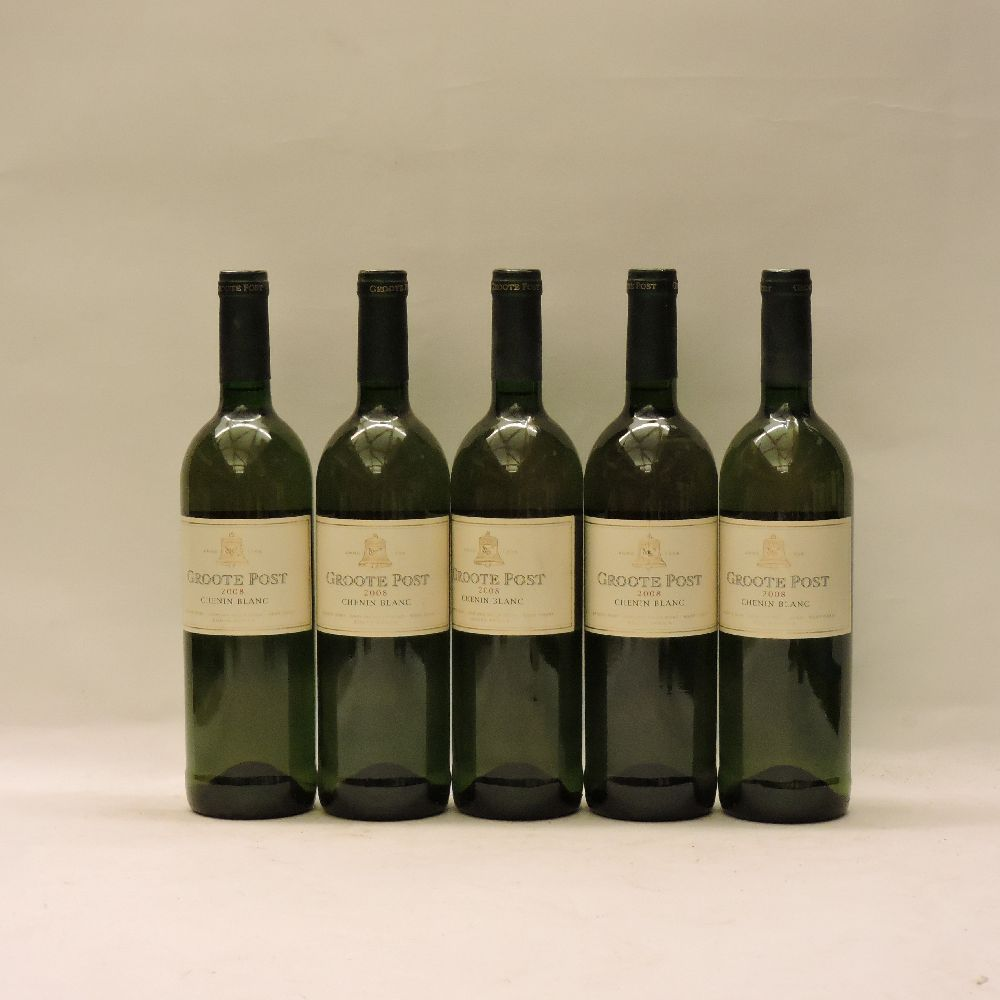Lot 54 - Assorted Groote Post to include: Chenin Blanc, 2008, five bottles; Chardonnay, 1999, four bottles;