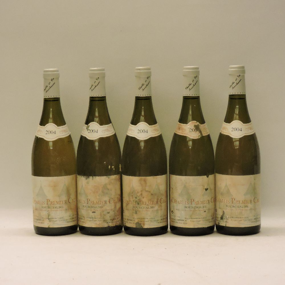 Lot 43 - Chablis 1ere Cru, Fourchaume, Tremblay, 2004, five bottles (faded labels)
