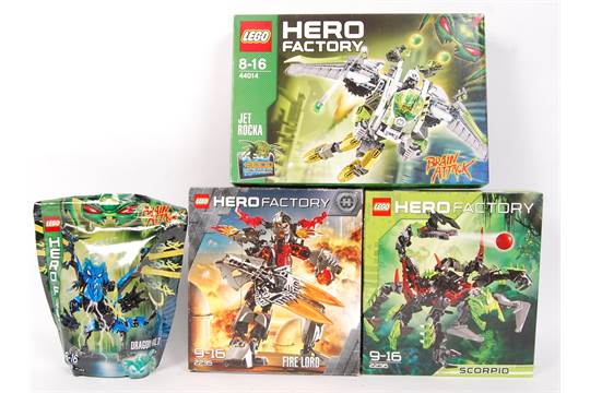 A collection of 4x Lego Hero Factory sets to include