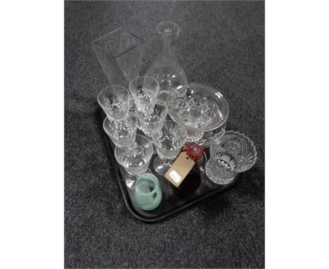 A tray of assorted glass, antique red glass decanter, Caithness vase, six wine glasses, carafe etc