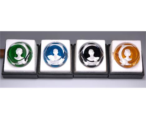 """A SET OF FOUR BACCARAT ROYAL COMMEMORATIVE PAPERWEIGHTS, """"THE ROYAL CAMEOS IN CRYSTAL"""", comprising The Duke of Edinburgh, The"""