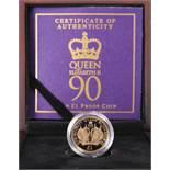 """A 2016 GOLD PROOF ONE POUND COIN, """"HER MAJESTY THE QUEEN'S 90TH BIRTHDAY"""", no. 994, boxed with"""