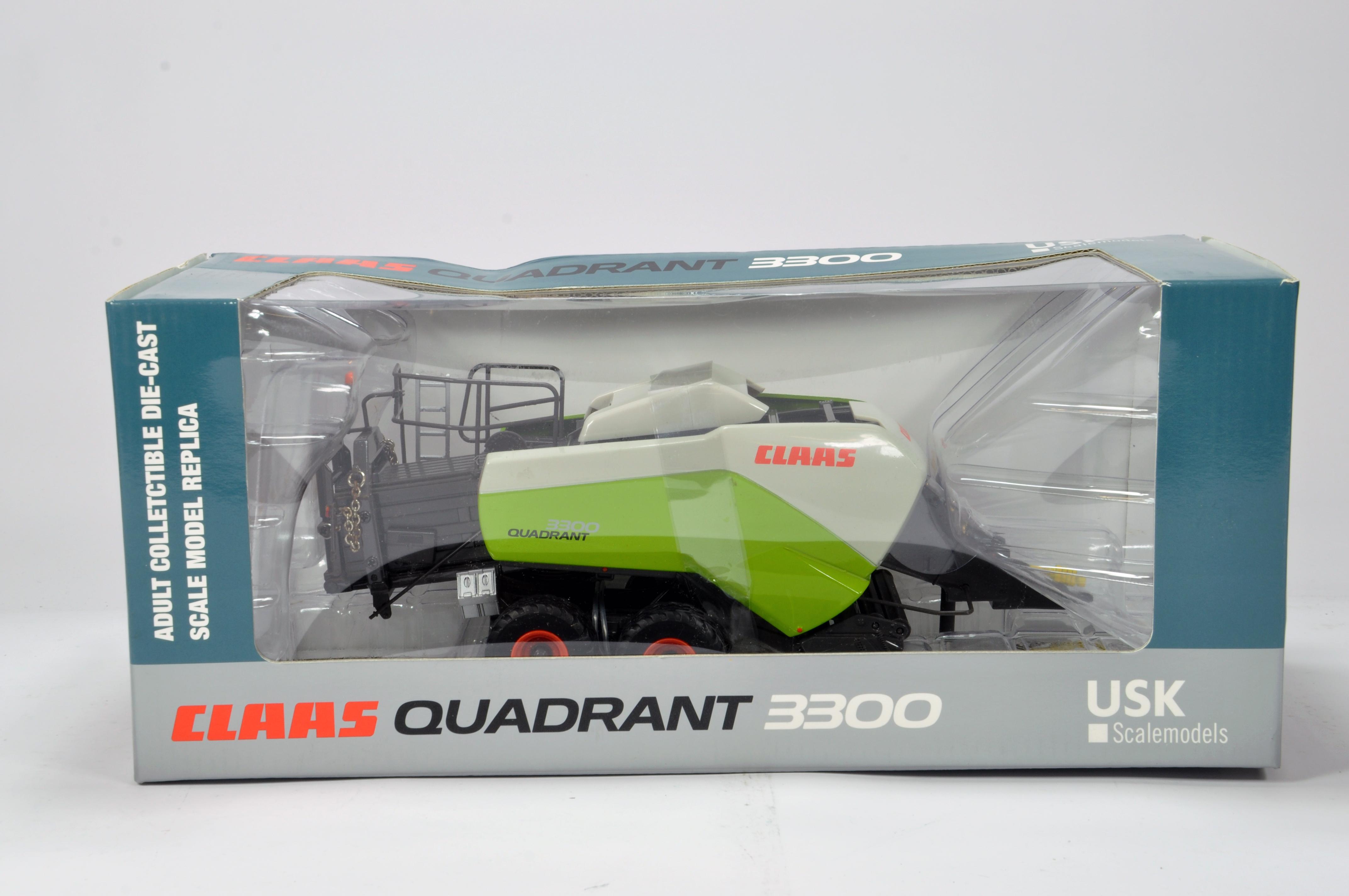 Lot 406 - USK 1/32 Farm Diecast model comprising Claas Quadrant 3300 Baler. NM to M in Box.