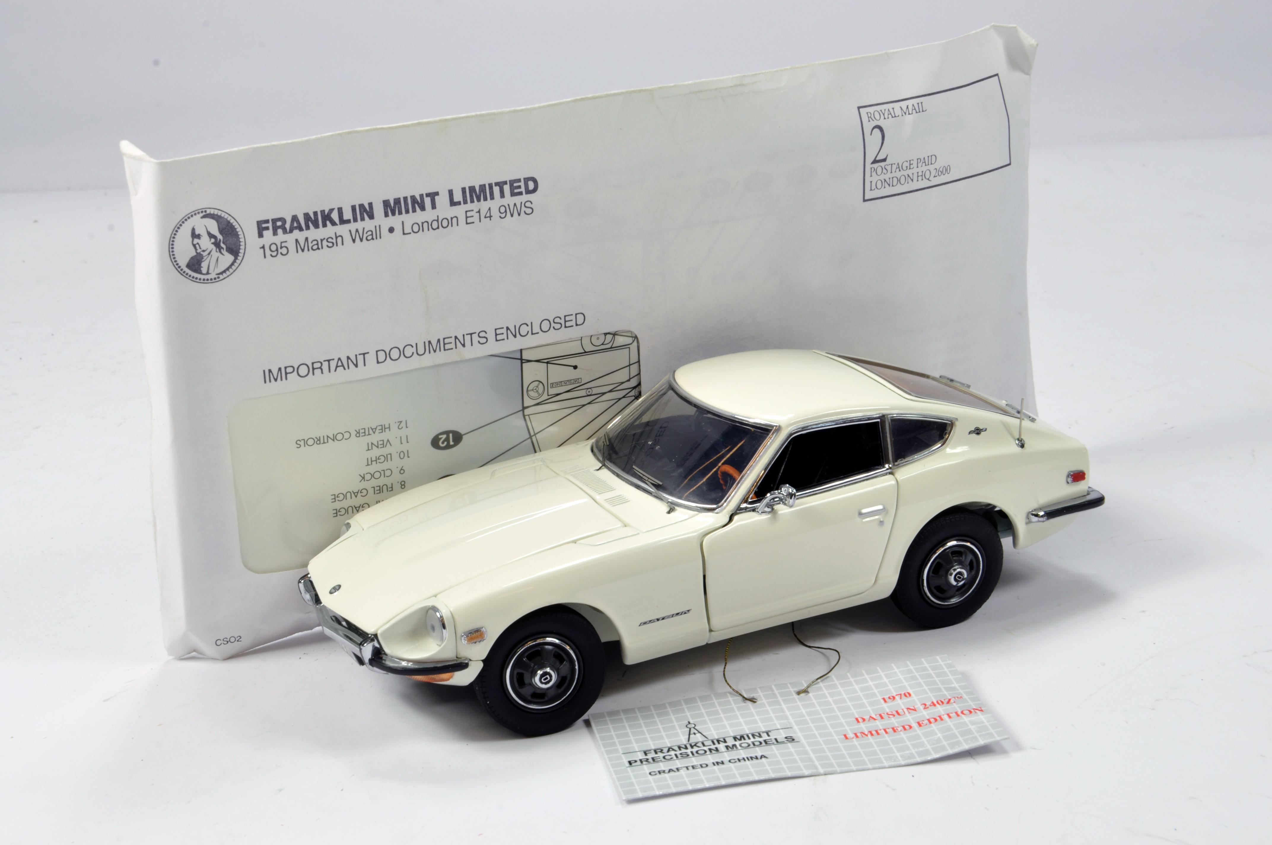 Lot 784 - Franklin Mint 1/24 Datsun 240Z (White) Limited Edition No. 01555/02500. E to NM.
