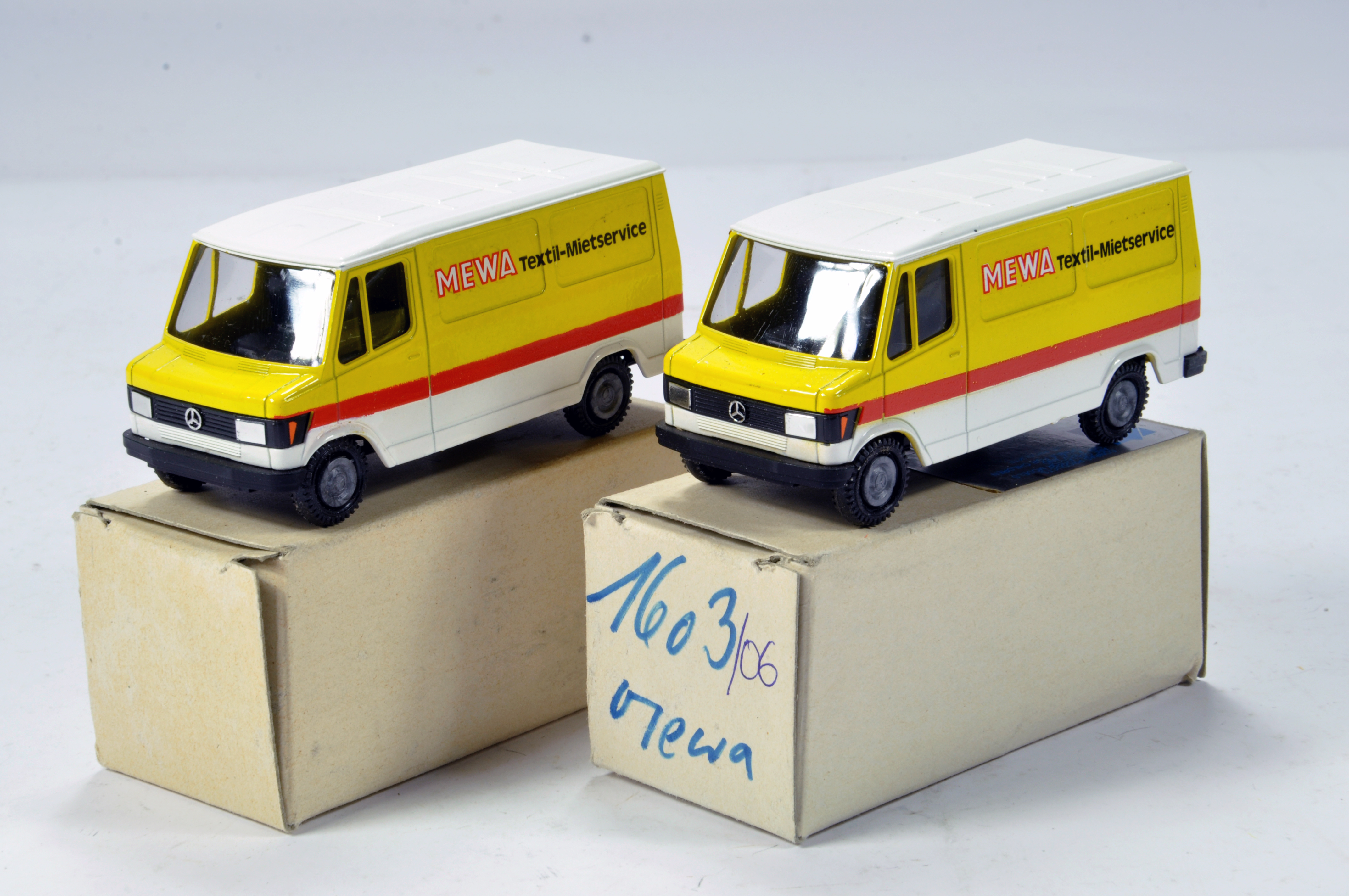 Lot 326 - Conrad 1/50 Construction Diecast No. 1603 Mercedes Benz Service Vans. Mewa. Scarce Promotional