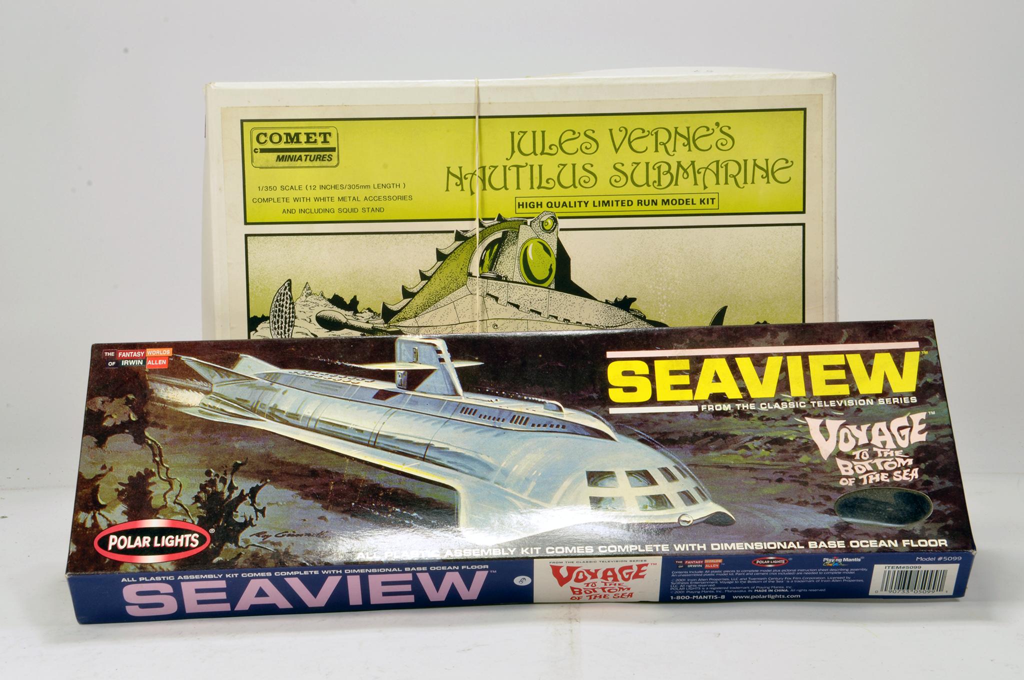 Lot 1073 - Scarce Comet 1/350 Jules Submarine plus Polar Lights Seaview model kits. Vendor informs kits are