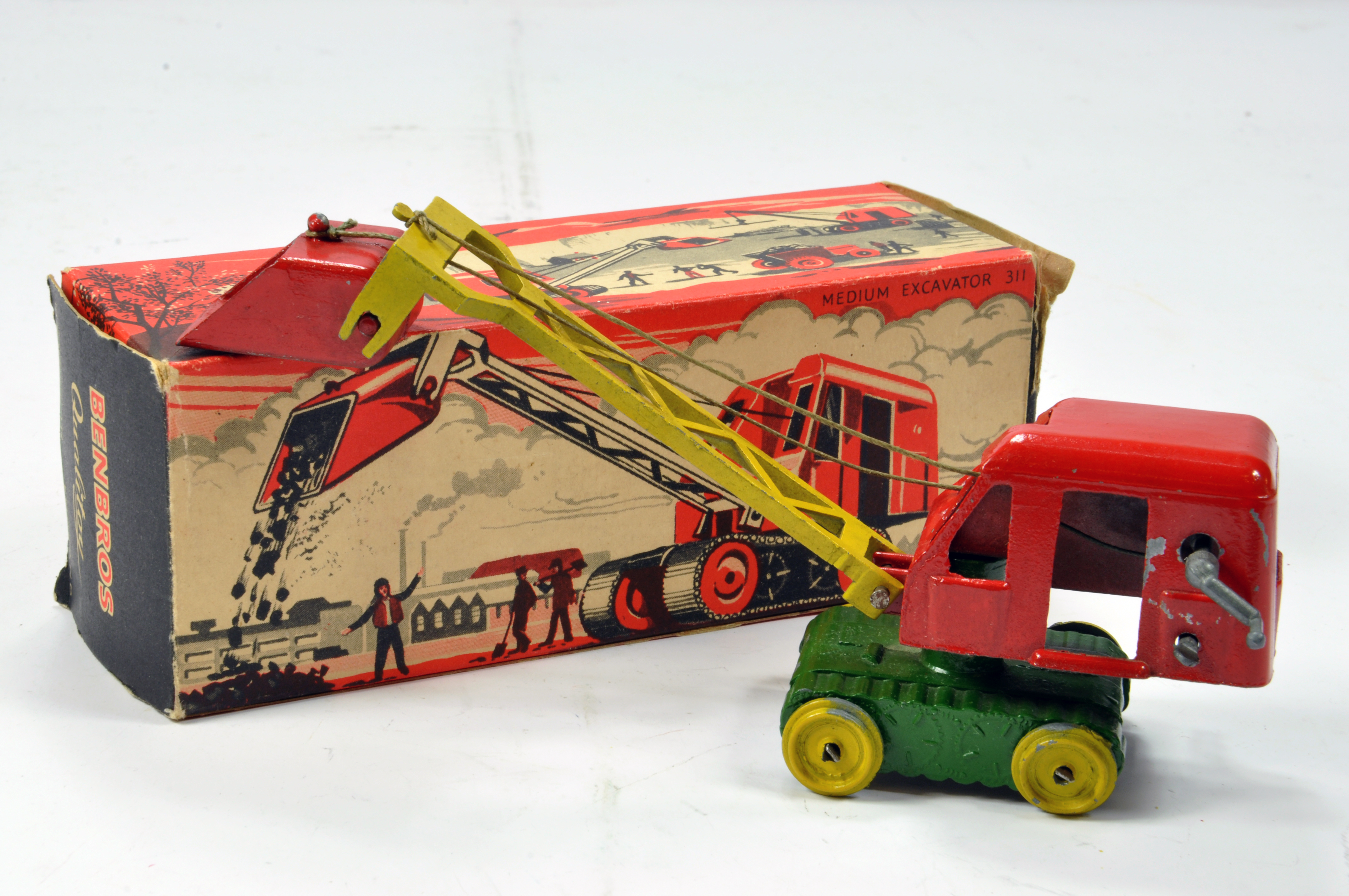 Lot 968 - Benbros No. 311 early issue Medium Excavator in red, green and yellow with bucket. Lacks Tracks
