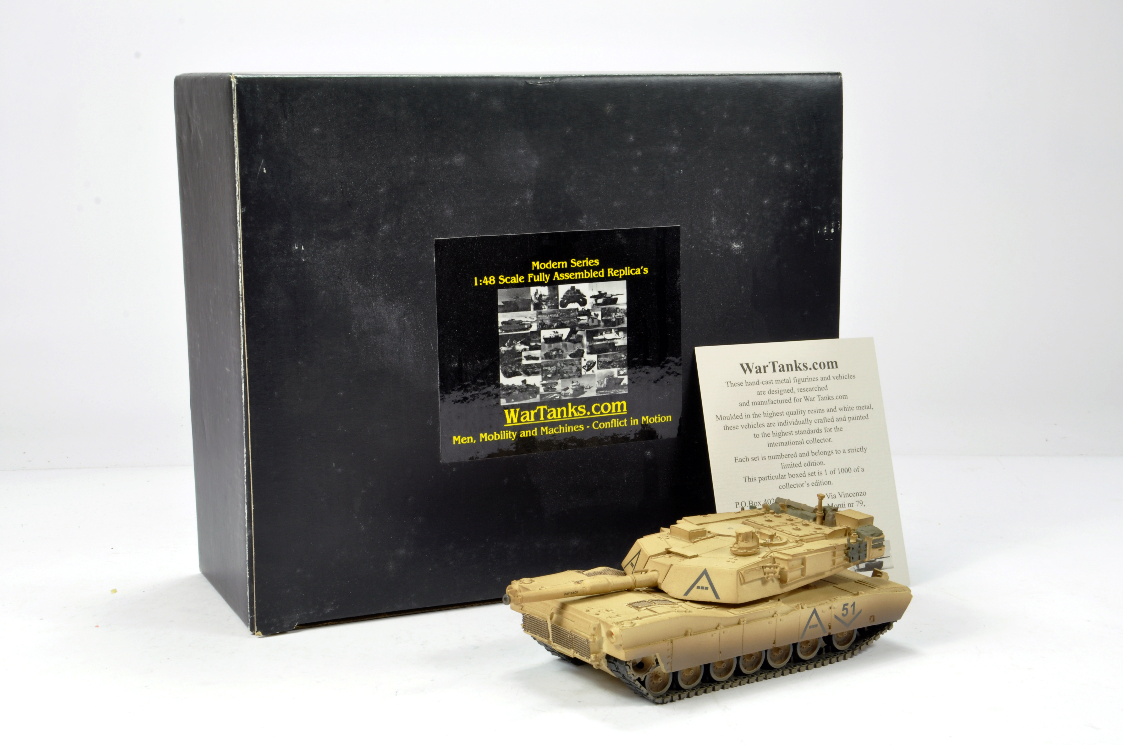 Lot 1125 - Wartanks.com 1/48 Resin White Metal issue comprising limited edition Road to Bagdad M1A1 Abrams