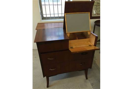 A Vintage Vanity Unit Chest Of Drawers With Lift Up Mirror