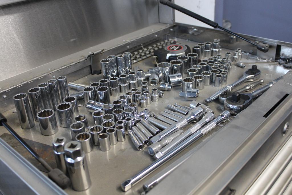 Lot 1 - 8 Drawer stainless tool box w/ mechanics tools