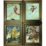 Lot 459 - A Set of Four Enamel Plaques Allegorical of The Four Seasons, by Susan Searle, 20th Century