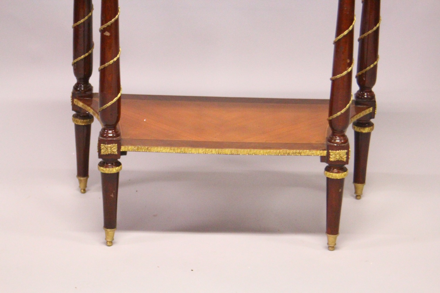 A FRENCH STYLE MAHOGANY AND ORMOLU TWO-TIER CONSOLE TABLE. 2ft 4ins wide x 2ft 9ins high x 1ft - Image 3 of 3