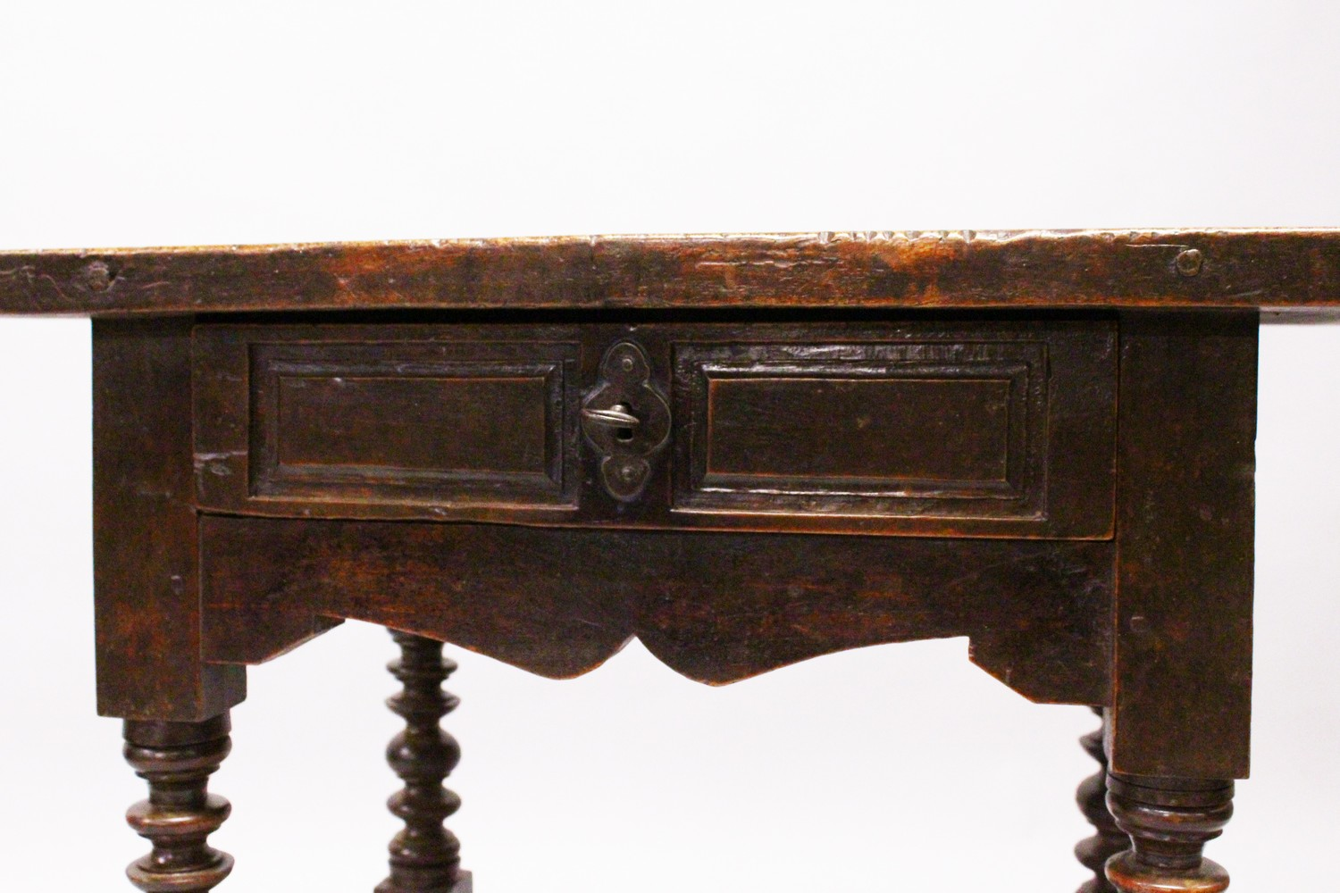 AN 18TH CENTURY SPANISH SIDE TABLE, with solid walnut top, single frieze drawer with iron lock, - Image 3 of 13