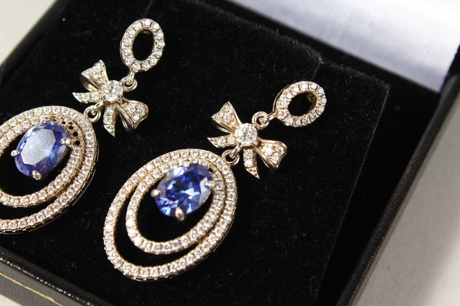 Lot 1753 - A PAIR OF ART DECO EARRINGS.