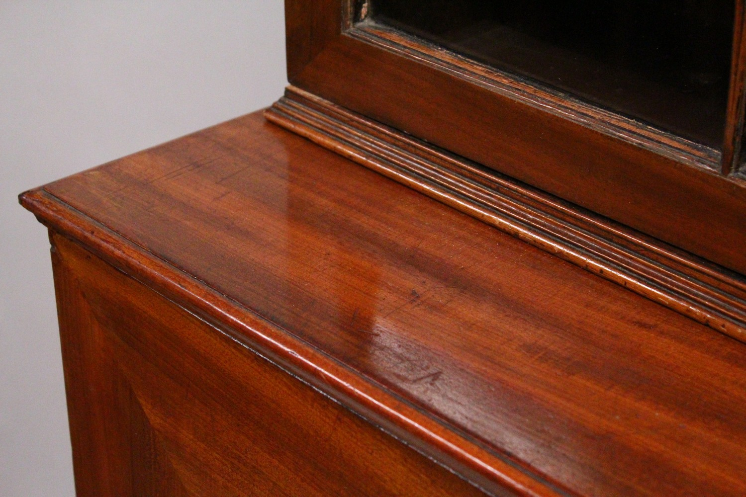 A GEORGE III DESIGN MAHOGANY CUPBOARD BOOKCASE, 19TH CENTURY, with a moulded cornice, pair of - Image 4 of 10