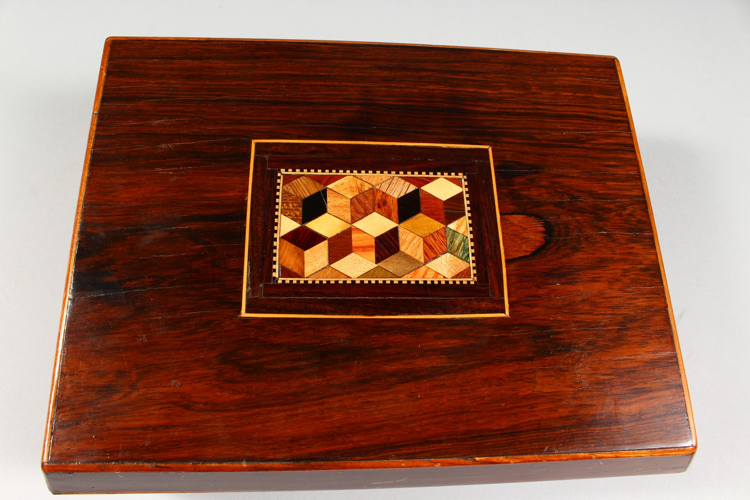 Lot 1482 - A GOOD 19TH CENTURY TUNBRIDGE WARE SEWING BOX, the top with parquetry inlay, opening to reveal
