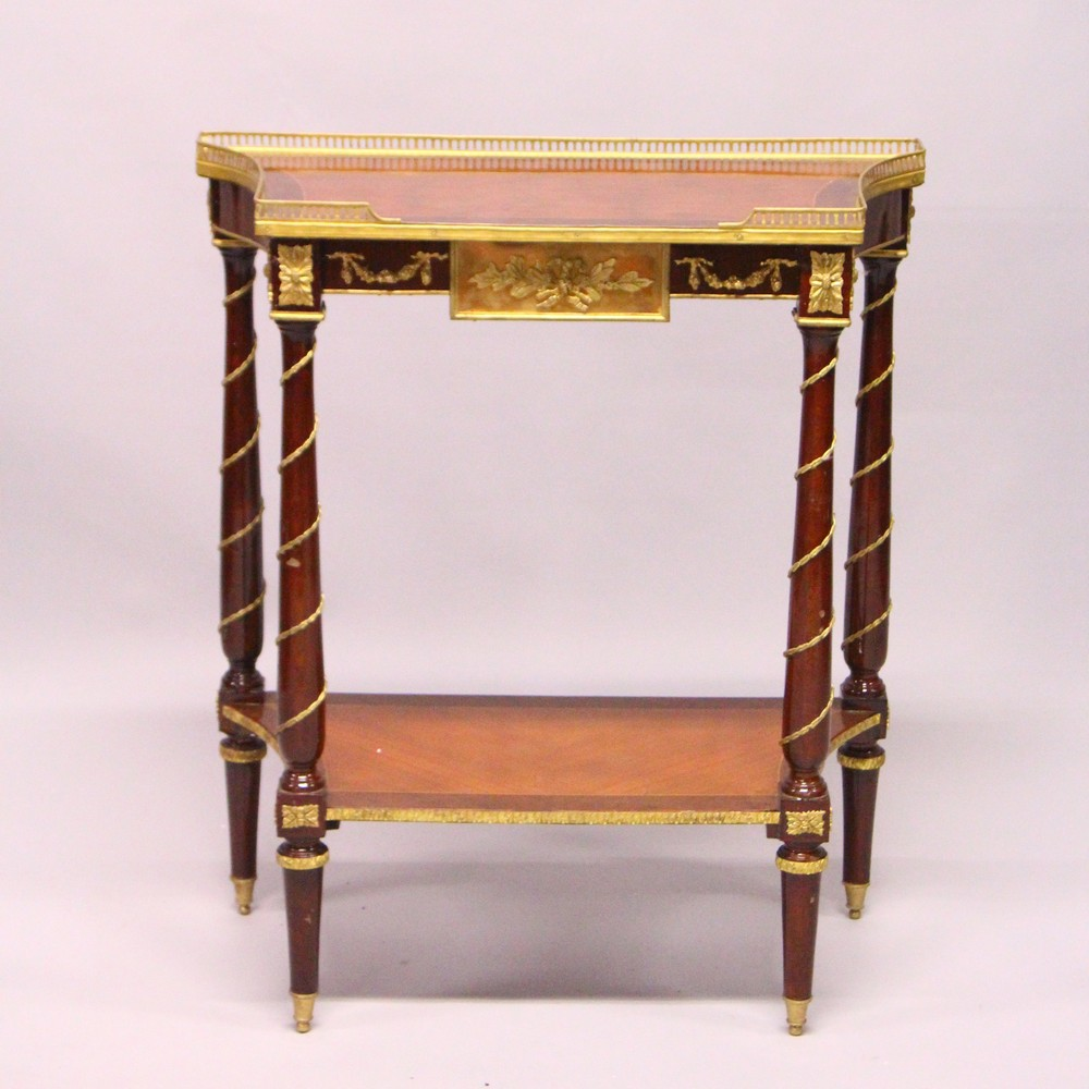 A FRENCH STYLE MAHOGANY AND ORMOLU TWO-TIER CONSOLE TABLE. 2ft 4ins wide x 2ft 9ins high x 1ft