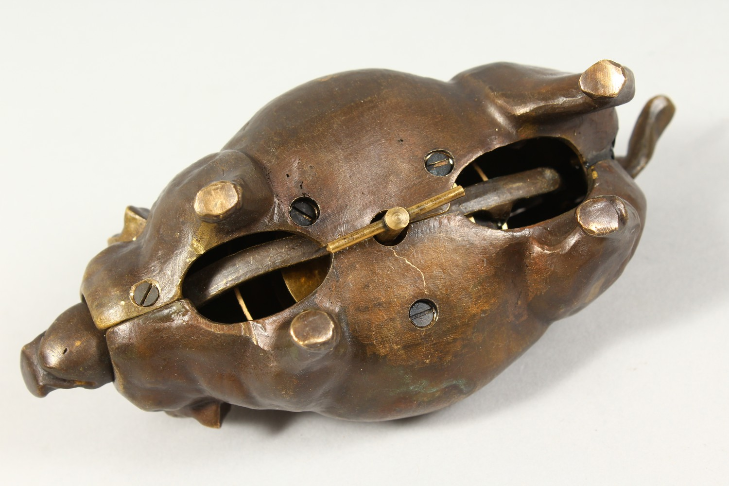 A BRONZE PIG SHAPE DESK BELL. 7ins long. - Image 5 of 5