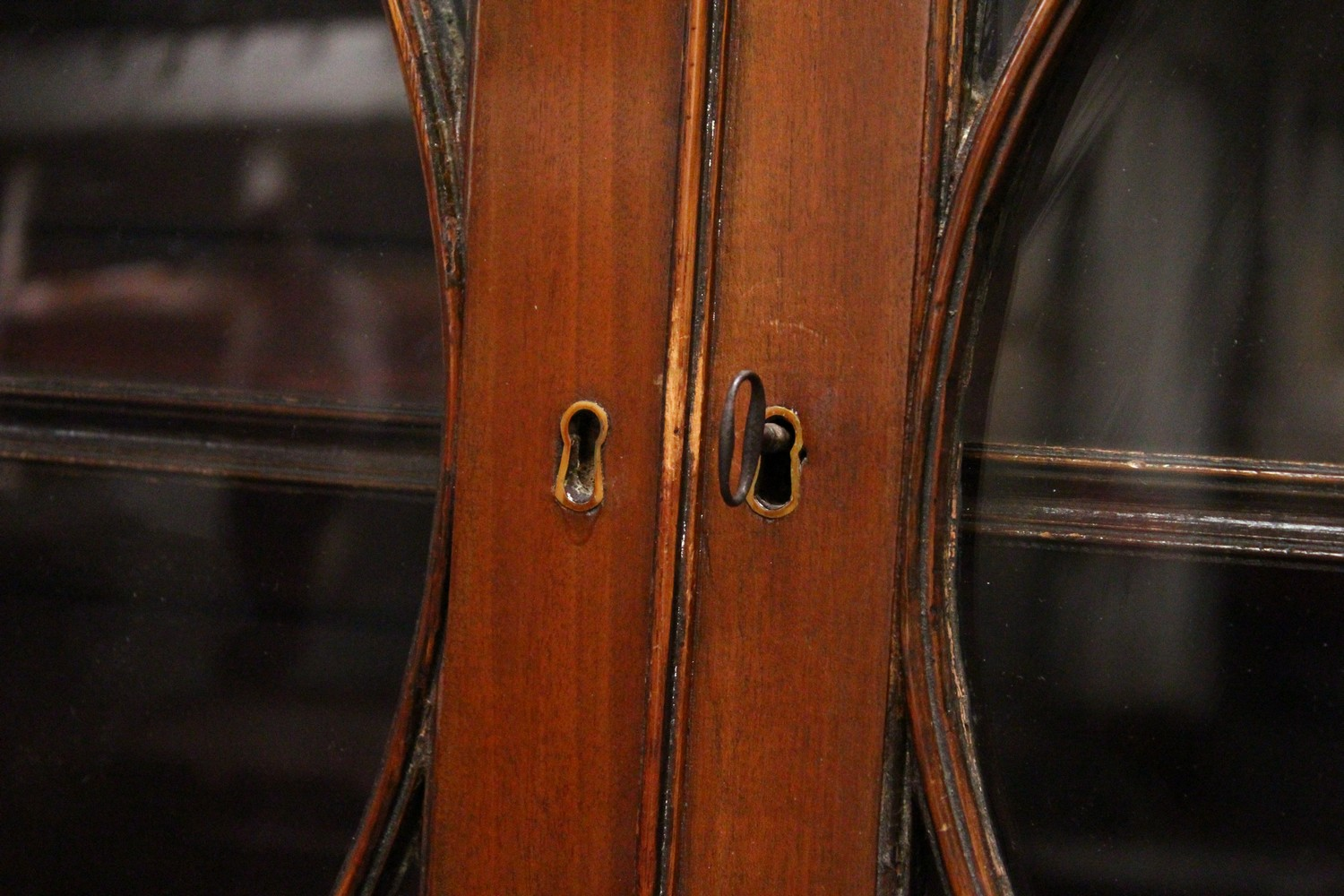 A GEORGE III DESIGN MAHOGANY CUPBOARD BOOKCASE, 19TH CENTURY, with a moulded cornice, pair of - Image 3 of 10