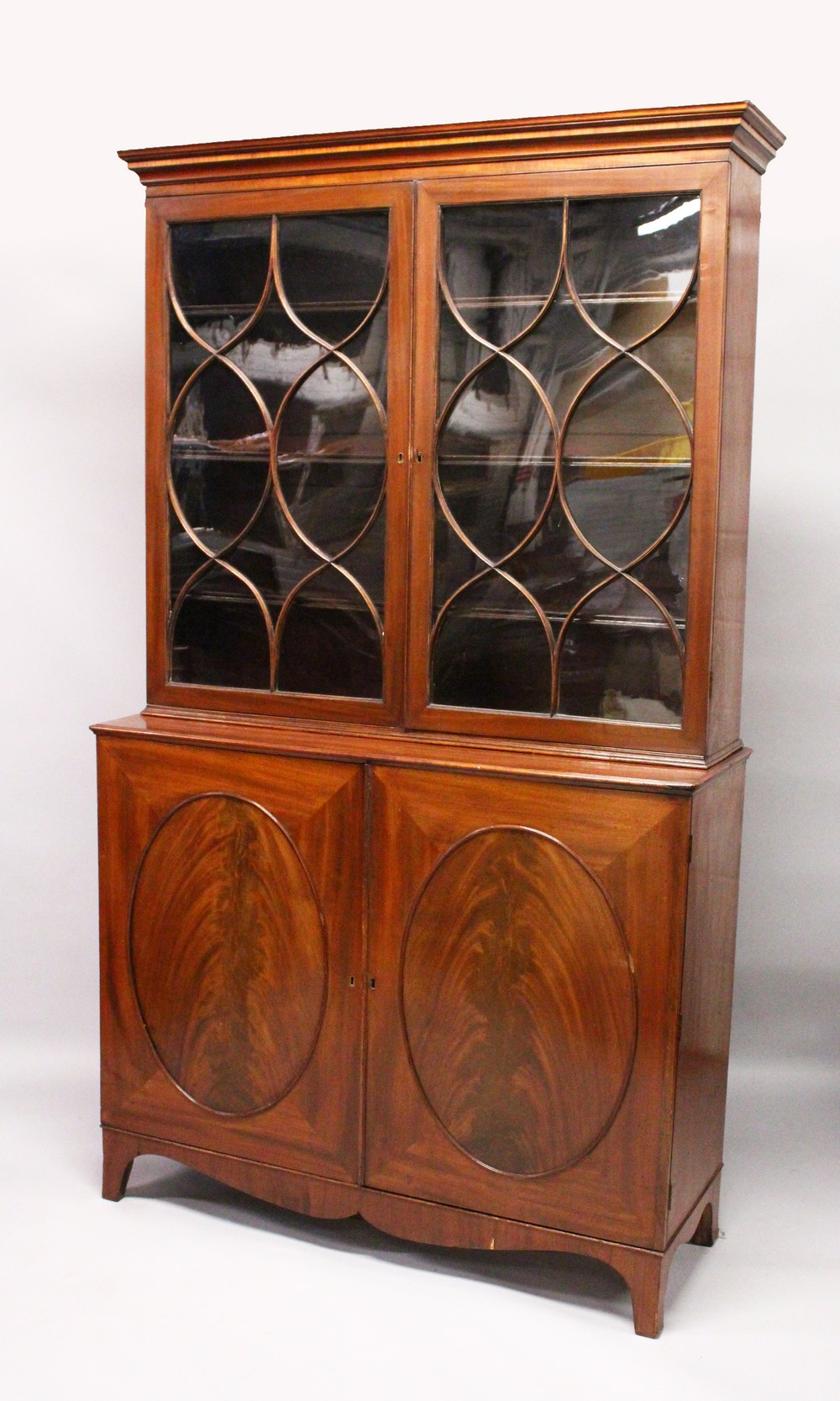 A GEORGE III DESIGN MAHOGANY CUPBOARD BOOKCASE, 19TH CENTURY, with a moulded cornice, pair of