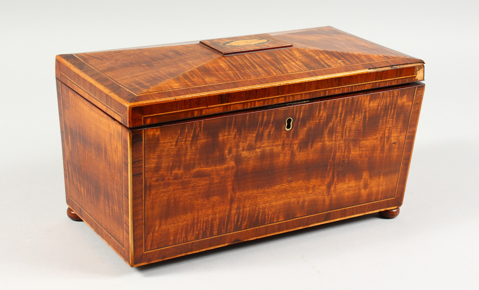 Lot 1397 - A 19TH CENTURY SARCOPHAGUS SHAPE TEA CADDY. 12ins wide.
