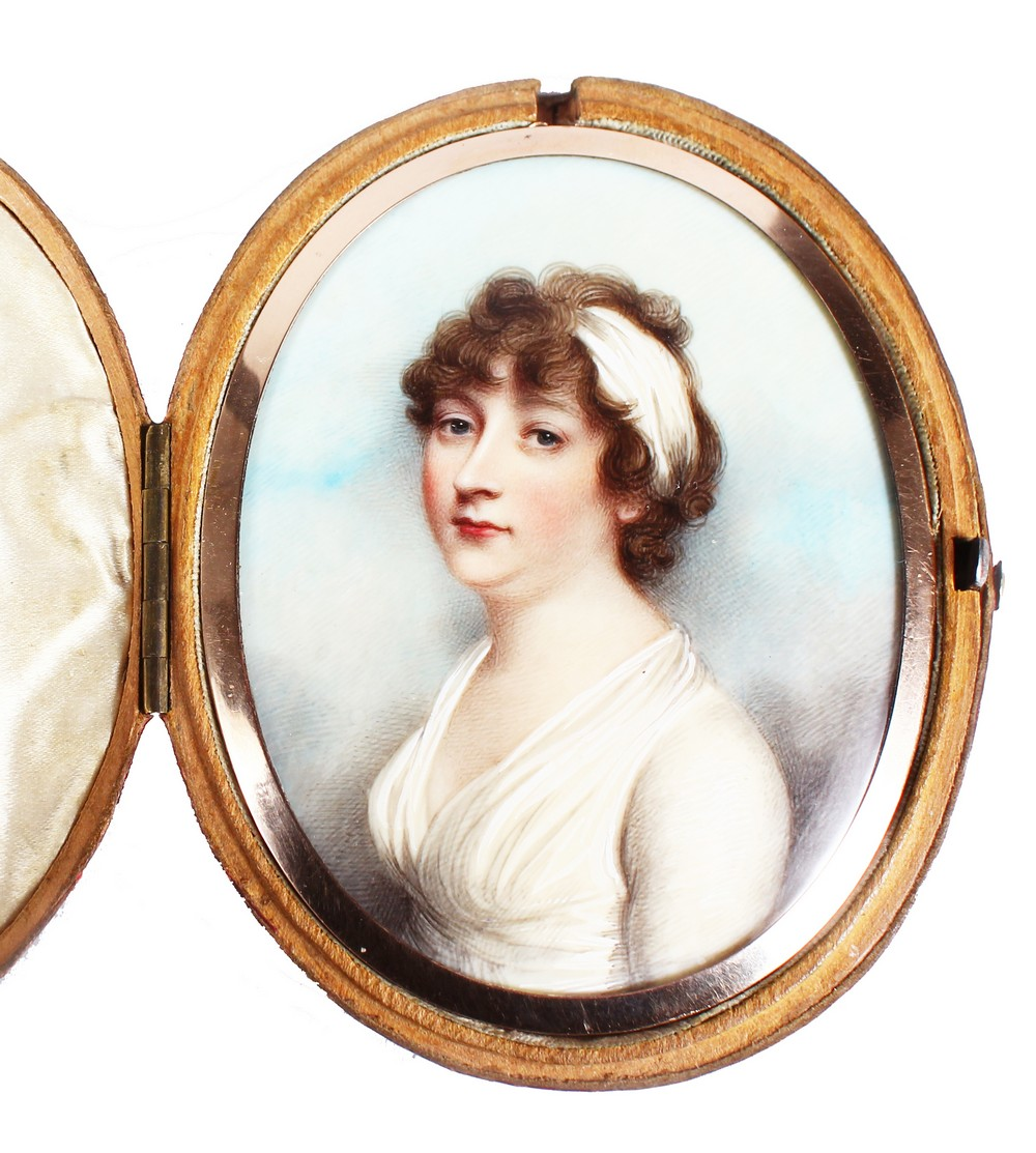 ANDREW PLIMER (1763 - 1837) A FINE OVAL PORTRAIT OF LADY GRAHAM, wearing a white headband and