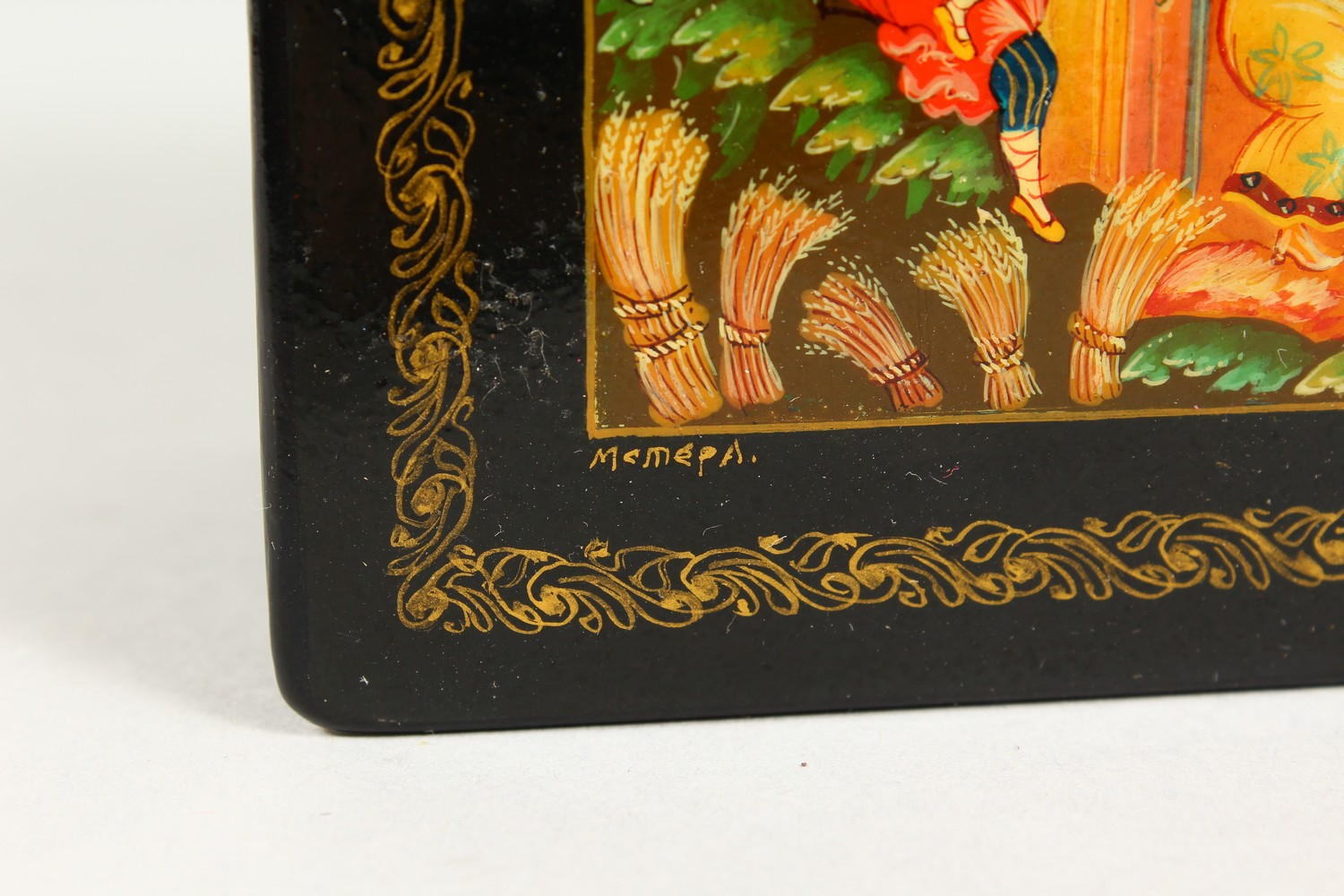"""A RUSSIAN BLACK PAPIER MACHE SQUARE BOX, """"Merrymaking"""". 4ins x 4ins. - Image 6 of 10"""