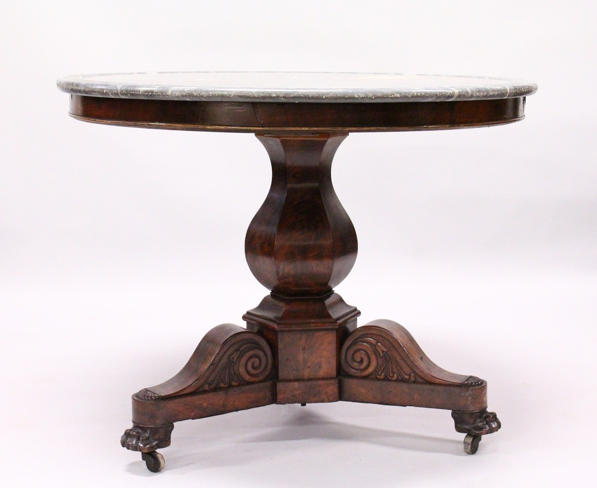 A 19TH CENTURY ROSEWOOD AND GREY MARBLE CIRCULAR CENTRE TABLE, with veined grey marble top, plain
