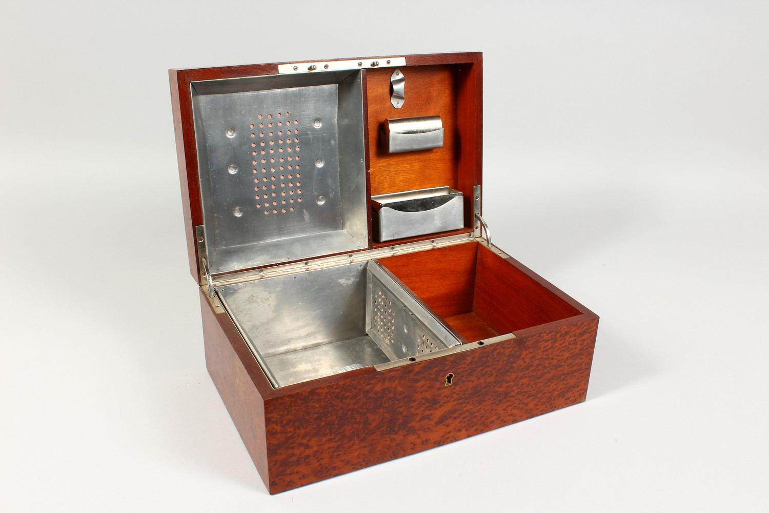 A GOOD BURR WOOD HUMIDOR. 13ins wide. - Image 3 of 5