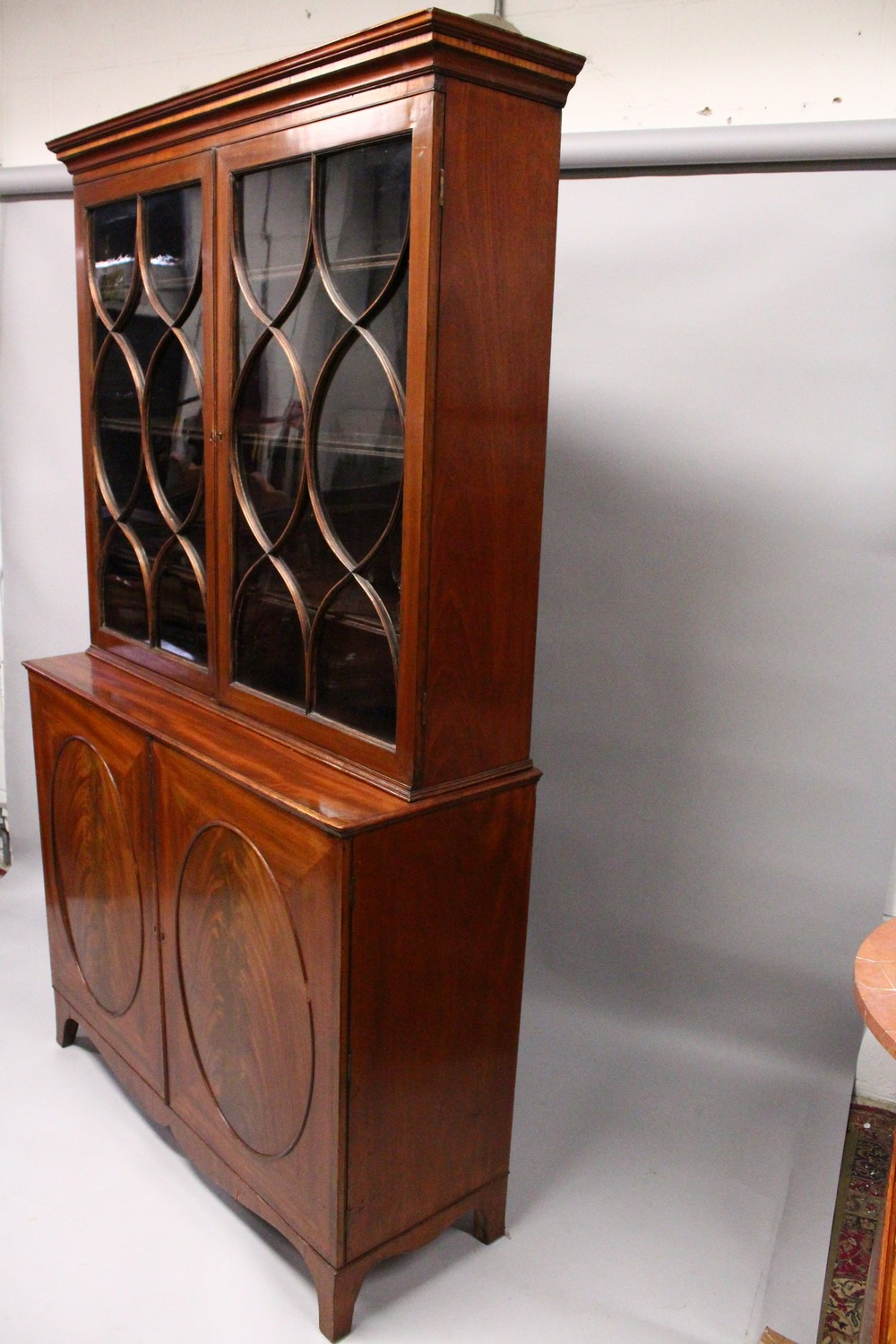 A GEORGE III DESIGN MAHOGANY CUPBOARD BOOKCASE, 19TH CENTURY, with a moulded cornice, pair of - Image 7 of 10