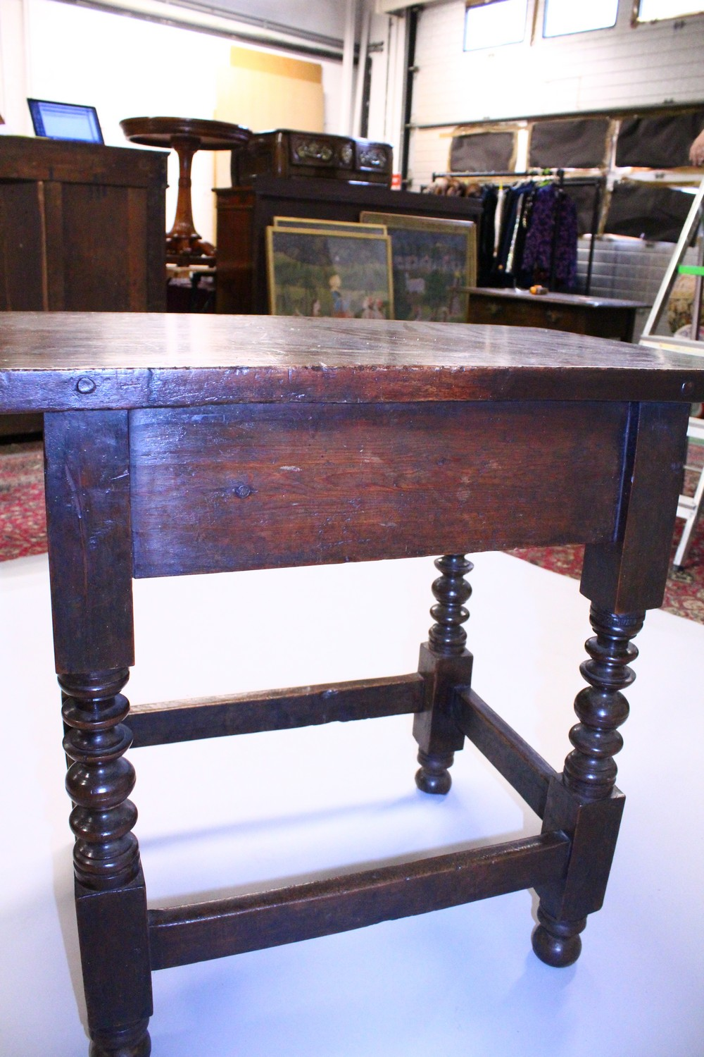 AN 18TH CENTURY SPANISH SIDE TABLE, with solid walnut top, single frieze drawer with iron lock, - Image 13 of 13