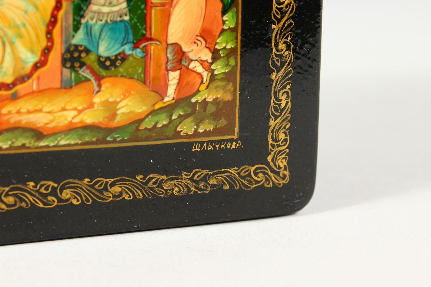 """A RUSSIAN BLACK PAPIER MACHE SQUARE BOX, """"Merrymaking"""". 4ins x 4ins. - Image 7 of 10"""