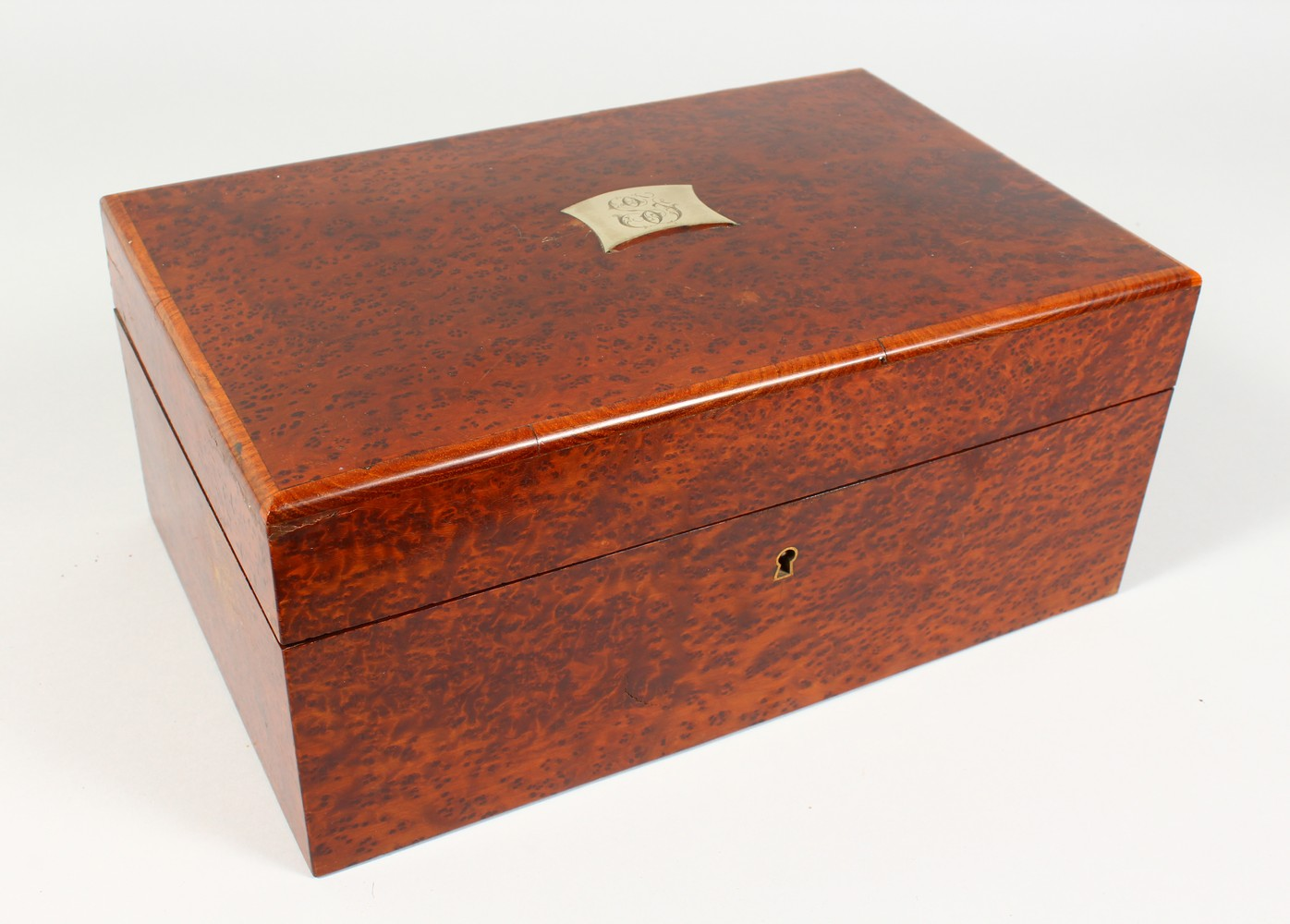 A GOOD BURR WOOD HUMIDOR. 13ins wide.