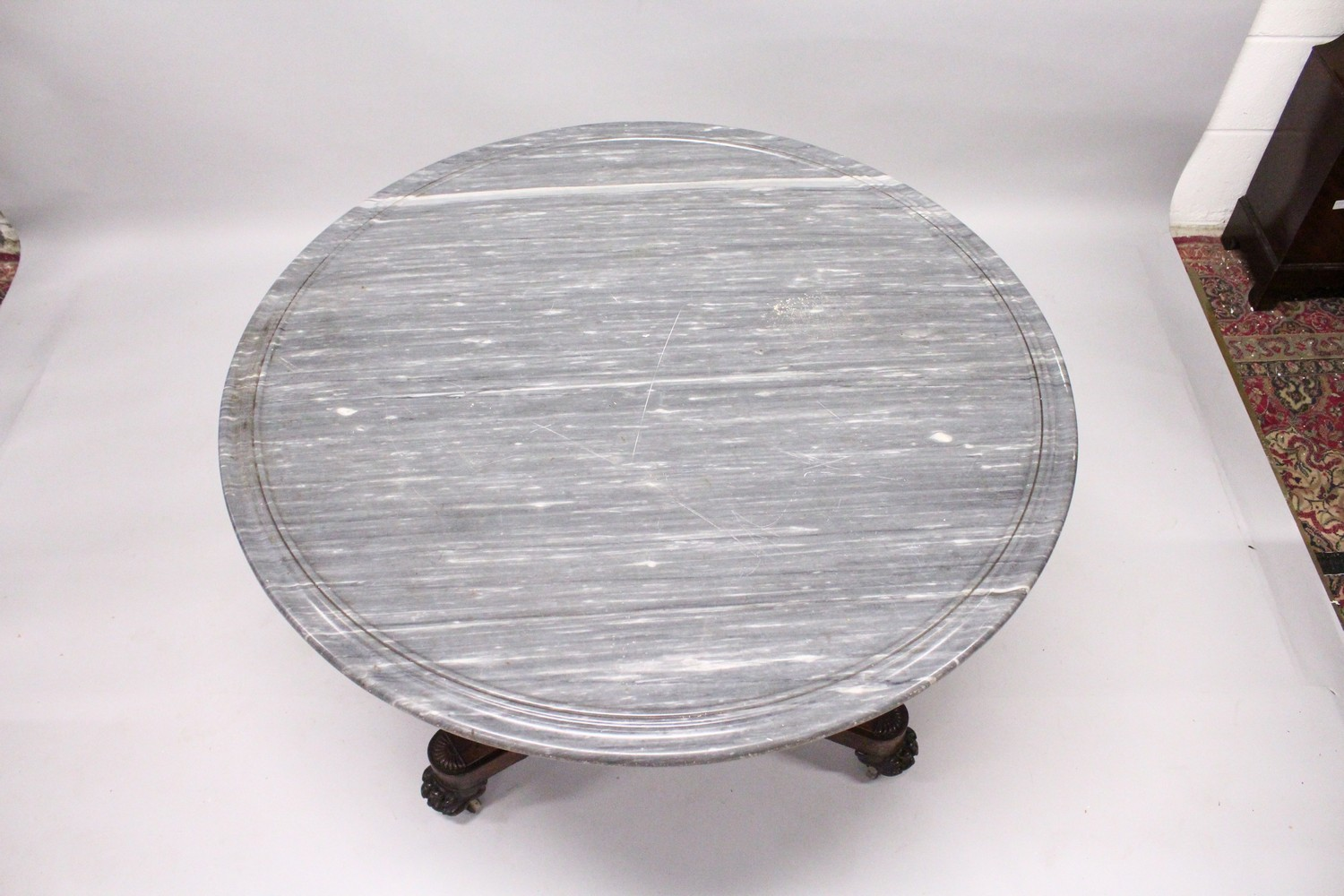 A 19TH CENTURY ROSEWOOD AND GREY MARBLE CIRCULAR CENTRE TABLE, with veined grey marble top, plain - Image 2 of 4