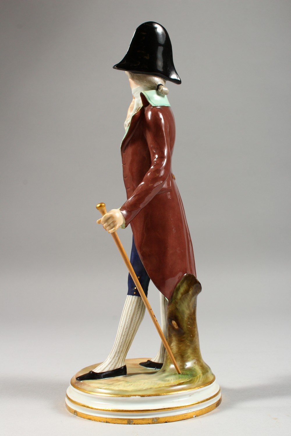 A MEISSEN FIGURE OF A DANDY, standing wearing a tailcoat, a stick in his left hand, a monocle in his - Image 3 of 6
