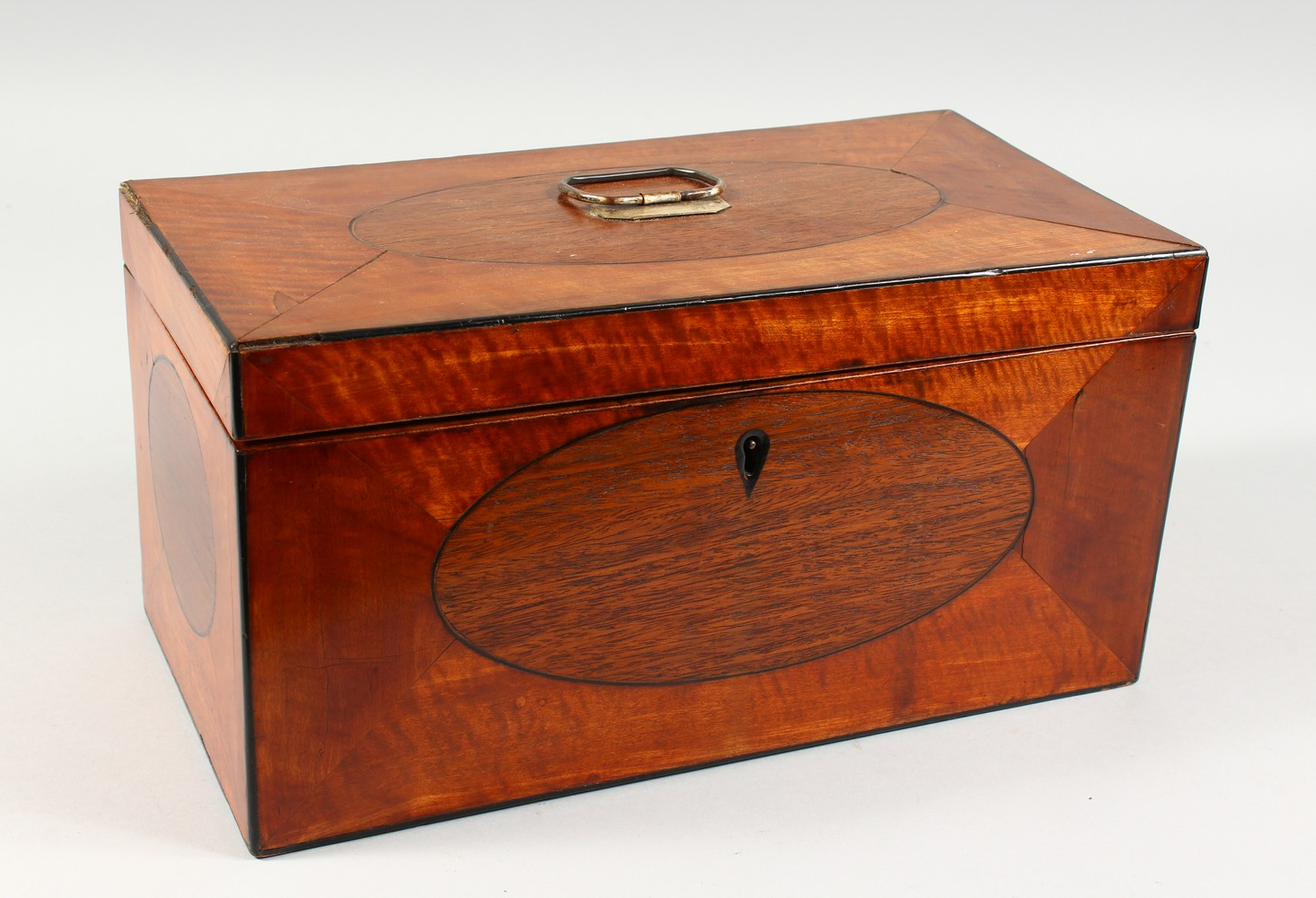 Lot 1476 - A 19TH CENTURY SATINWOOD RECTANGULAR TEA CADDY. 13ins wide.