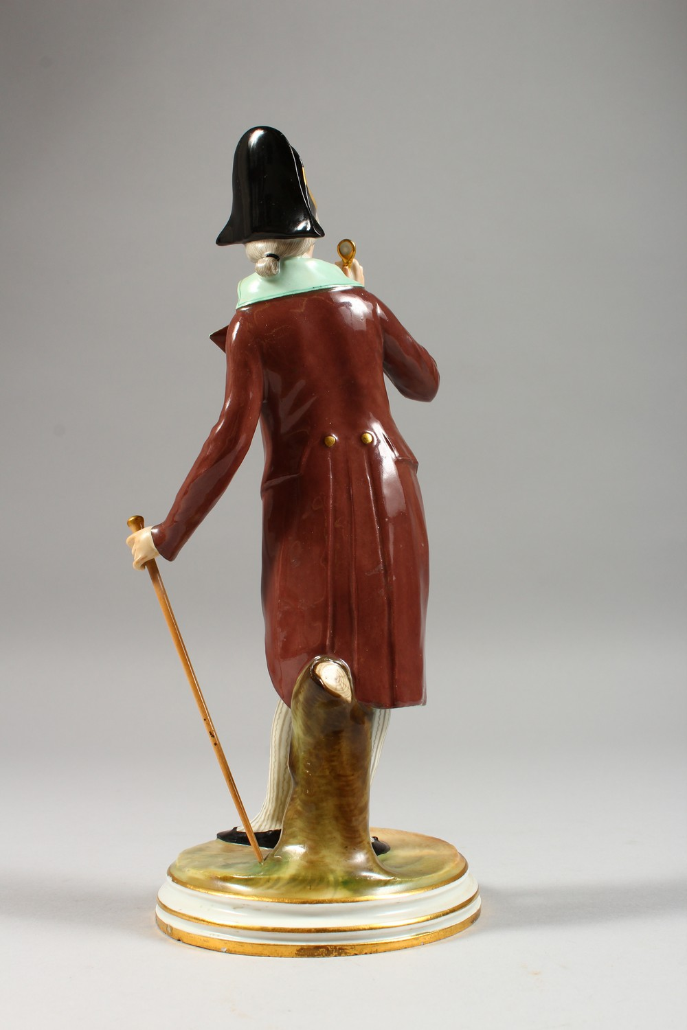 A MEISSEN FIGURE OF A DANDY, standing wearing a tailcoat, a stick in his left hand, a monocle in his - Image 4 of 6