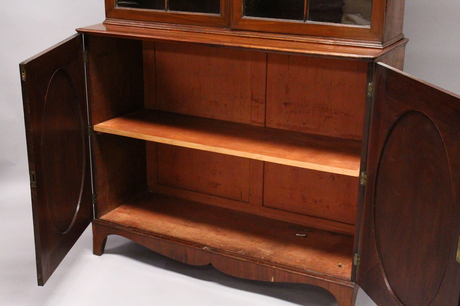 A GEORGE III DESIGN MAHOGANY CUPBOARD BOOKCASE, 19TH CENTURY, with a moulded cornice, pair of - Image 8 of 10
