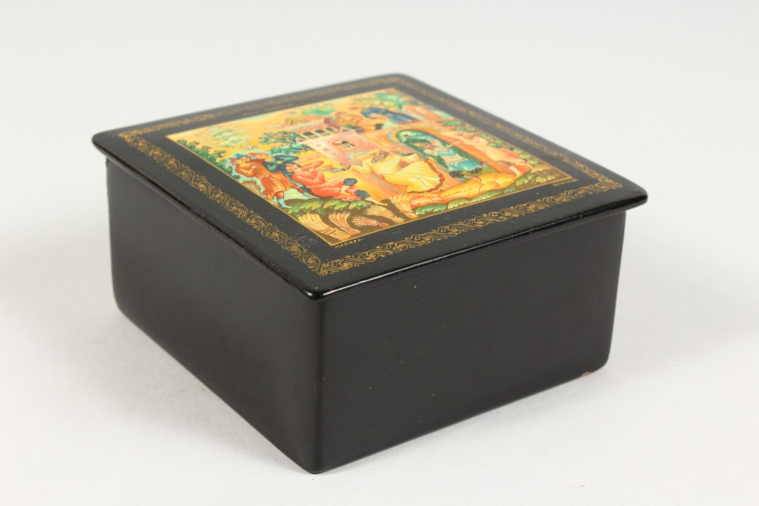 """A RUSSIAN BLACK PAPIER MACHE SQUARE BOX, """"Merrymaking"""". 4ins x 4ins. - Image 8 of 10"""