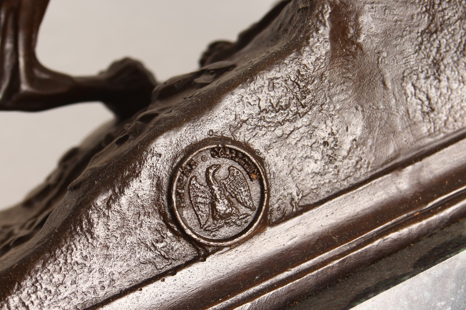AN AMUSING BRONZE OF A DOG CHASING A RABBIT DOWN A RABBIT HOLE, on a rectangular marble base. 11. - Image 3 of 3