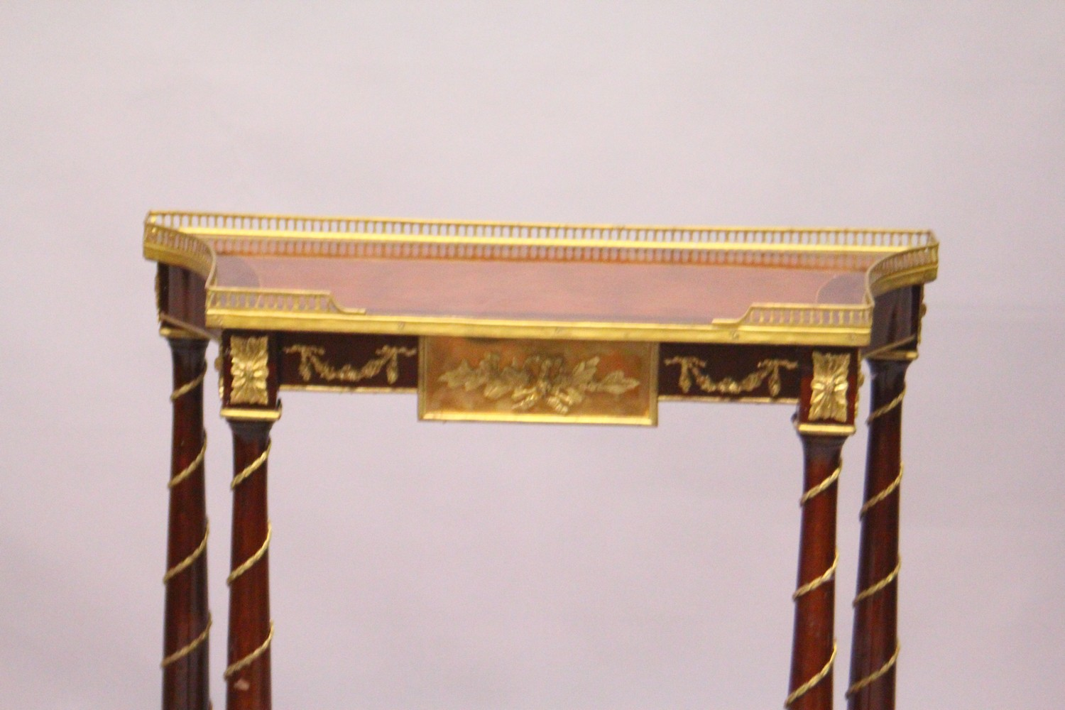 A FRENCH STYLE MAHOGANY AND ORMOLU TWO-TIER CONSOLE TABLE. 2ft 4ins wide x 2ft 9ins high x 1ft - Image 2 of 3