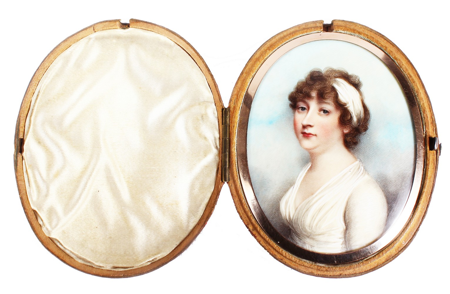 ANDREW PLIMER (1763 - 1837) A FINE OVAL PORTRAIT OF LADY GRAHAM, wearing a white headband and - Image 4 of 4