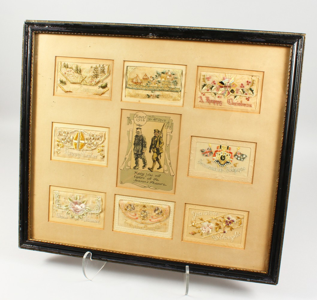 Lot 1459 - A FRAMED COLLECTION OF EIGHT FIRST WORLD WAR SILK POSTCARDS, framed and glazed.