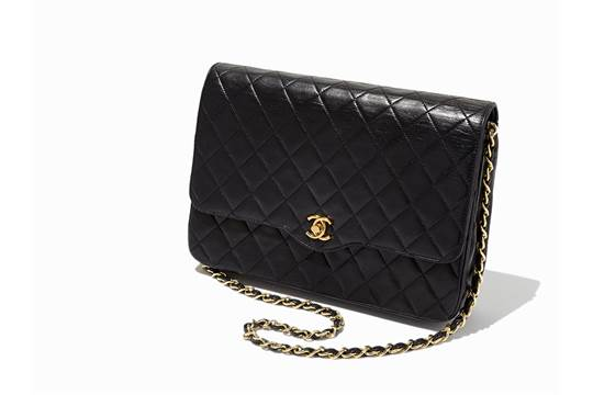 514616a17321 Chanel, Vintage Quilted Black Leather Single Flap Bag, c.1980's ...
