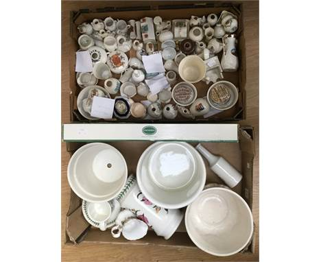 A collection of Goss, Carlton, Arcadian and other souvenir ware models to include Archbishop of Canterbury, cheese dish and s