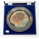 An Elizabeth II silver Prince Charles commemorative plate, Sheffield 1980, signed by 'Maestro Pietro